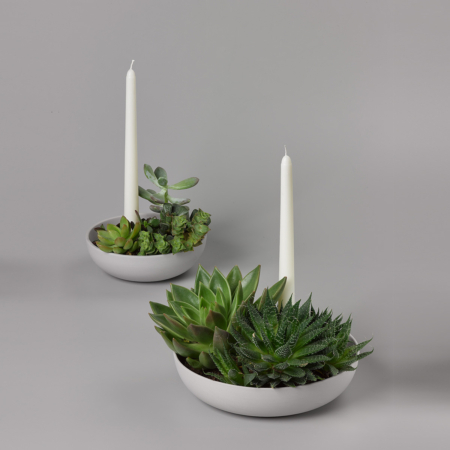 Orbital Ceramic Candle Holder with plants and candles