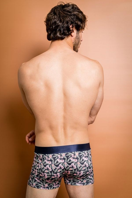 Bamboo Boxers - Flowering Gum on a model featuring bum