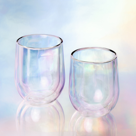 Prism Double Walled glasses on a coloured background