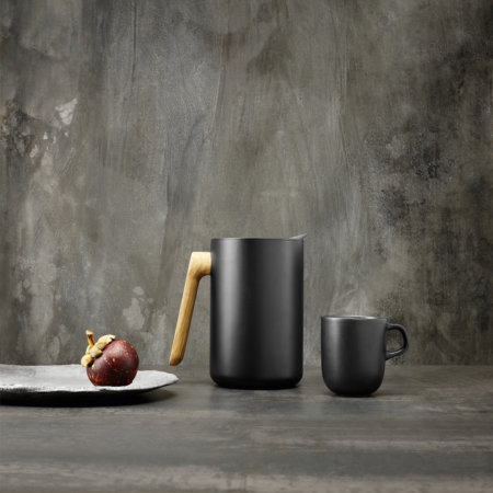 Nordic kitchen Vacuum Jug in editorial image with fruit