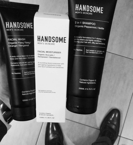 Handsome Men's Skincare products trio black and white image
