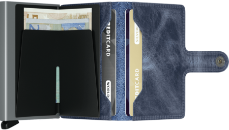 Mini Wallet - vintage blue open with cards inside