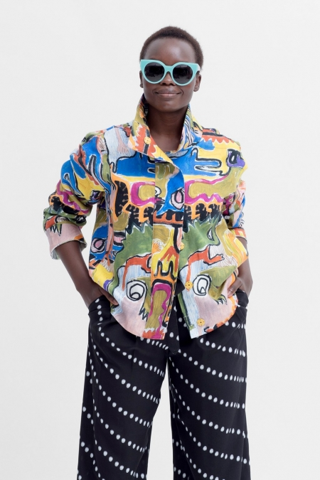 Mostro Jacket on a model with sunglasses on a white background