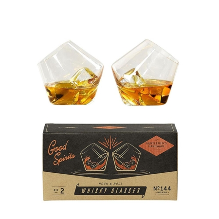 Rocking Whiskey Glasses - set of 2 showing packaging and filled glasses