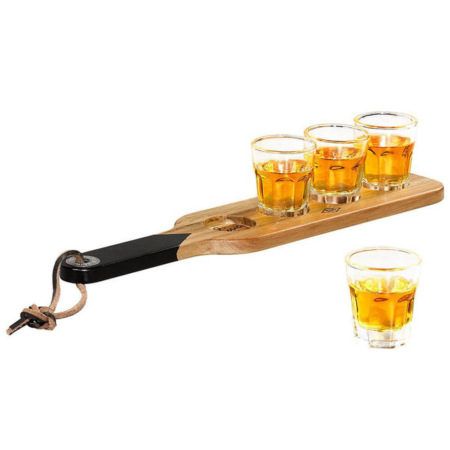 Serving Paddle and Shot Glasses with filled shots