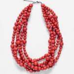 Aari red clay Multi Strand Necklace front on on white background