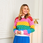 Forever Frankies Multi Stripe on a modelw with a blue skirt