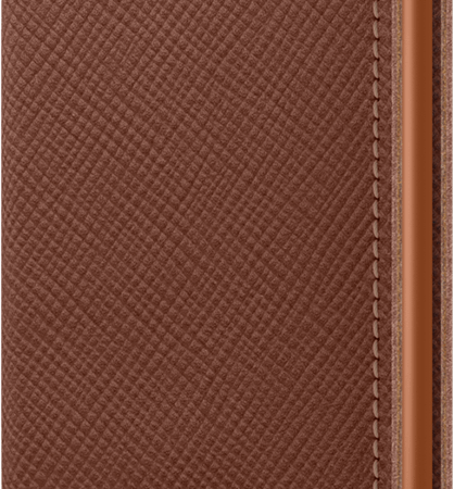 Secrid Wallet - Slimwallet - Saffiano Caramel- leather angled detail closed