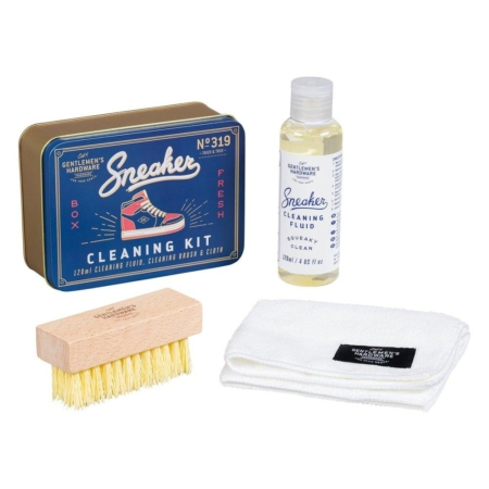 Sneaker Cleaning Kit showing tin, cleaner, brush and cloth