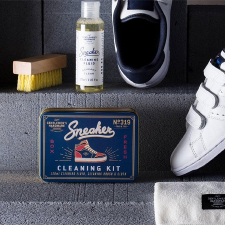 Sneaker Cleaning Kit with shoes on a step